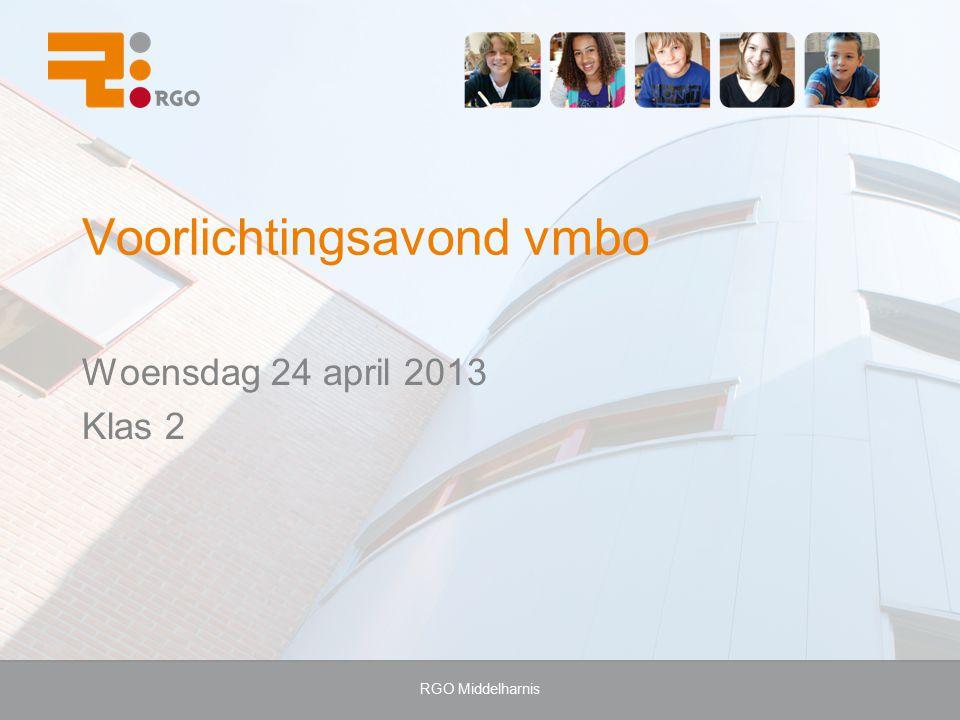 RGO Middelharnis Voorlichtingsavond vmbo Woensdag 24 april 2013 Klas 2