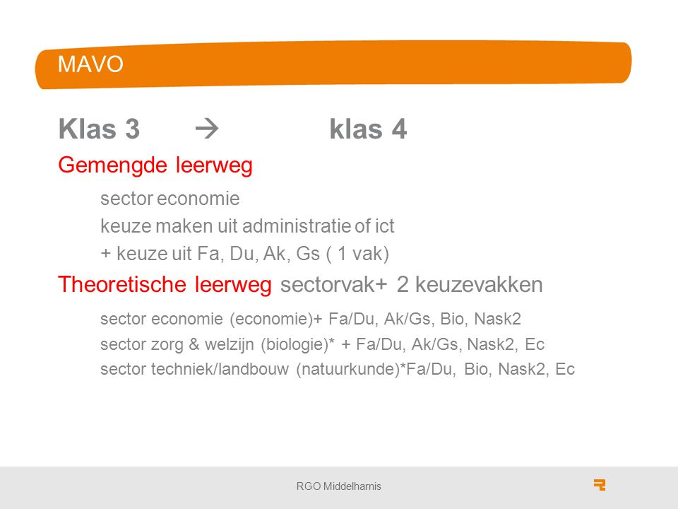 MAVO Klas 3  klas 4 Gemengde leerweg sector economie keuze maken uit administratie of ict + keuze uit Fa, Du, Ak, Gs ( 1 vak) Theoretische leerweg sectorvak+ 2 keuzevakken sector economie (economie)+ Fa/Du, Ak/Gs, Bio, Nask2 sector zorg & welzijn (biologie)* + Fa/Du, Ak/Gs, Nask2, Ec sector techniek/landbouw (natuurkunde)*Fa/Du, Bio, Nask2, Ec RGO Middelharnis