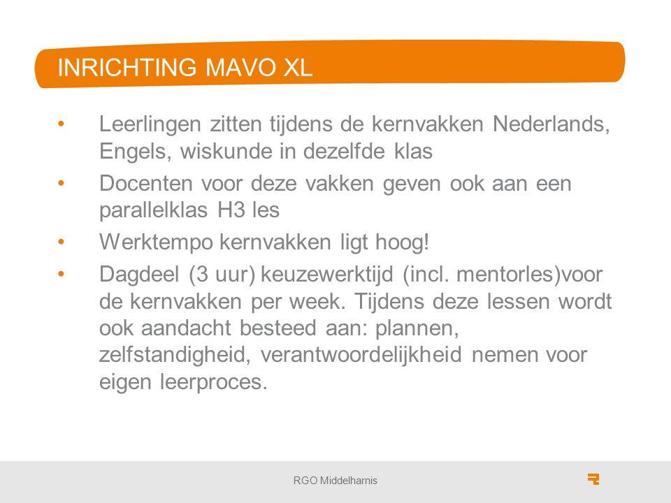 INRICHTING MAVO XL Leerlingen zitten tijdens de kernvakken Nederlands, Engels, wiskunde in dezelfde klas Docenten voor deze vakken geven ook aan een p