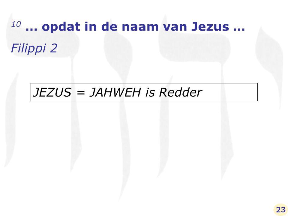 10 … opdat in de naam van Jezus … Filippi 2 JEZUS = JAHWEH is Redder 23