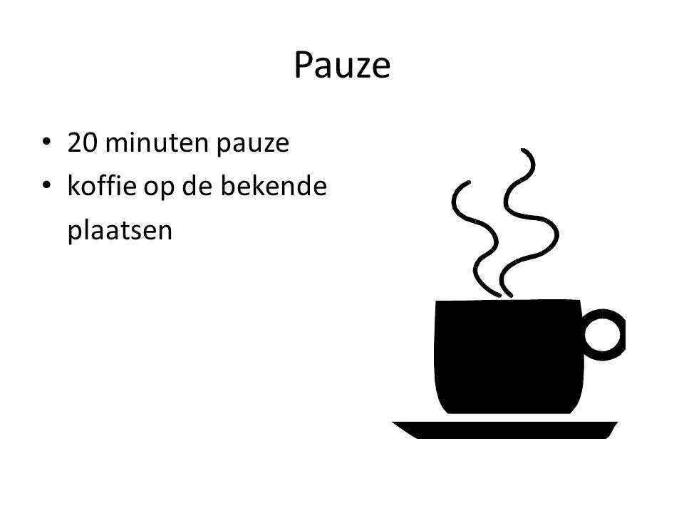 Pauze 20 minuten pauze koffie op de bekende plaatsen