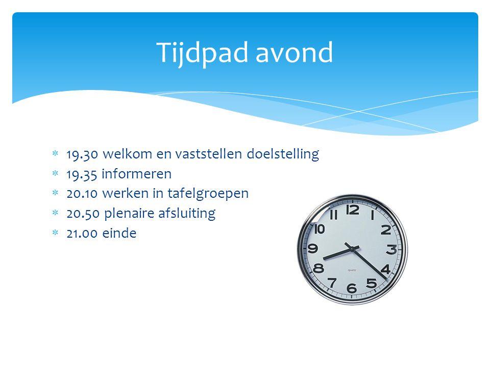  19.30 welkom en vaststellen doelstelling  19.35 informeren  20.10 werken in tafelgroepen  20.50 plenaire afsluiting  21.00 einde Tijdpad avond