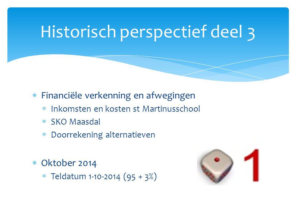  Financiële verkenning en afwegingen  Inkomsten en kosten st Martinusschool  SKO Maasdal  Doorrekening alternatieven  Oktober 2014  Teldatum 1-1