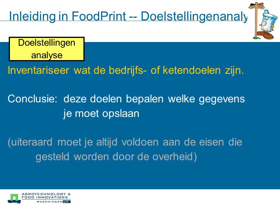 Inleiding in FoodPrint -- Doelstellingenanalyse Doelstellingen analyse Inventariseer wat de bedrijfs- of ketendoelen zijn. Conclusie: deze doelen bepa