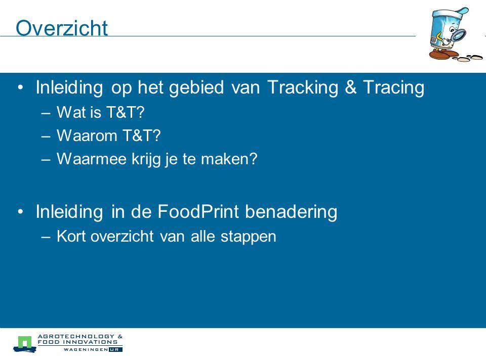 Overzicht Inleiding op het gebied van Tracking & Tracing –Wat is T&T? –Waarom T&T? –Waarmee krijg je te maken? Inleiding in de FoodPrint benadering –K