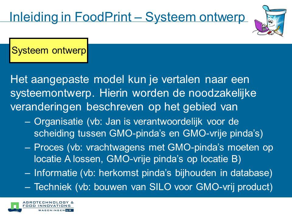 Iteratief proces Systeem Modellering Doelstellingen analyse Knelpunten analyse Systeem ontwerp Implementatie Inleiding in FoodPrint – Systeem ontwerp