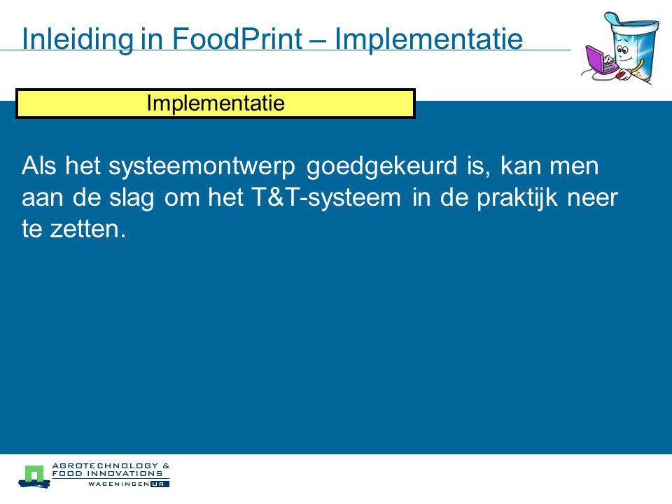 Inleiding in FoodPrint – Implementatie Iteratief proces Systeem Modellering Doelstellingen analyse Knelpunten analyse Systeem ontwerp Implementatie Al
