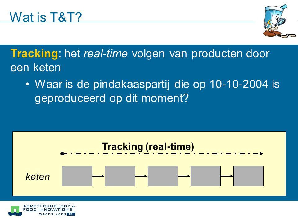 Wat is T&T? Tracking: het real-time volgen van producten door een keten Waar is de pindakaaspartij die op 10-10-2004 is geproduceerd op dit moment? ke