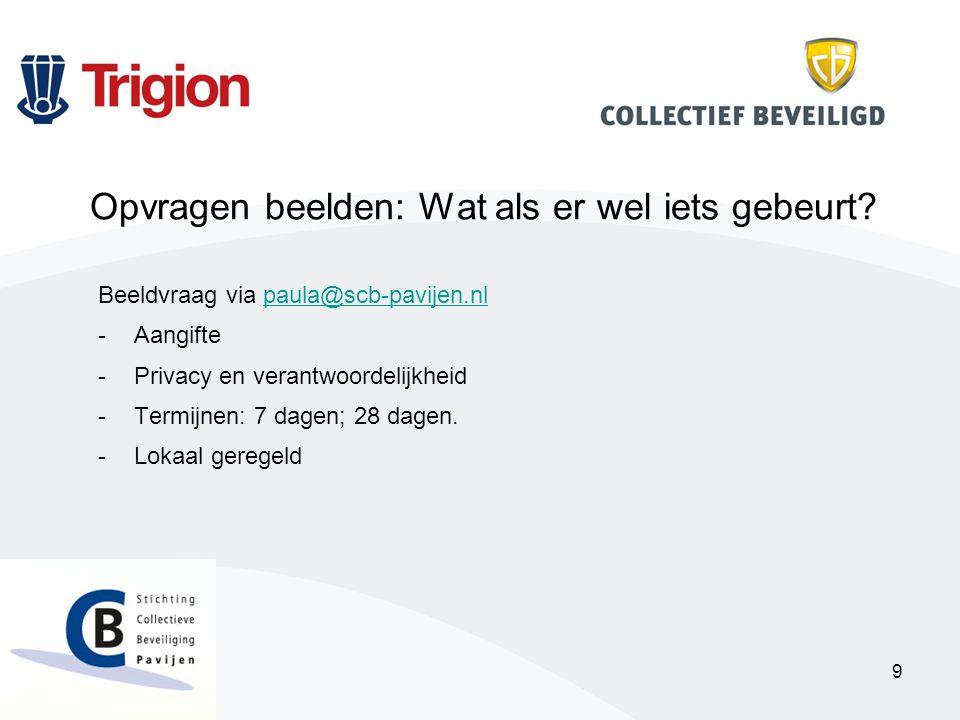 9 Beeldvraag via paula@scb-pavijen.nlpaula@scb-pavijen.nl -Aangifte -Privacy en verantwoordelijkheid -Termijnen: 7 dagen; 28 dagen.