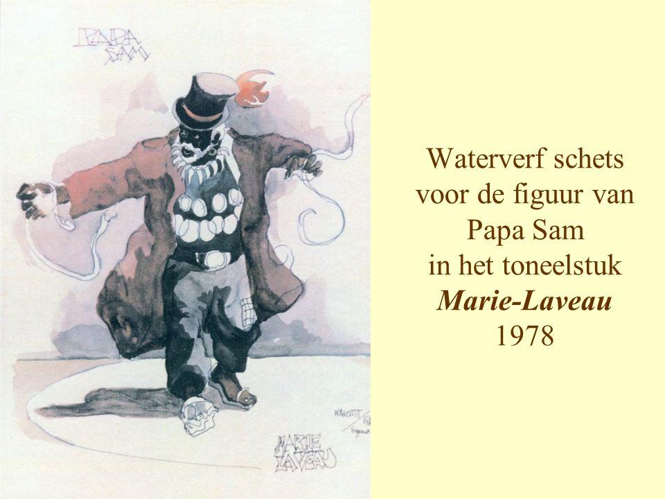 Waterverf schets voor de figuur van Papa Sam in het toneelstuk Marie-Laveau 1978