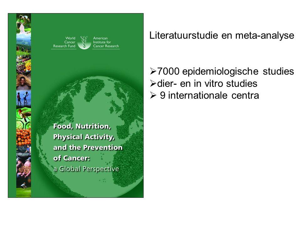Literatuurstudie en meta-analyse  7000 epidemiologische studies  dier- en in vitro studies  9 internationale centra