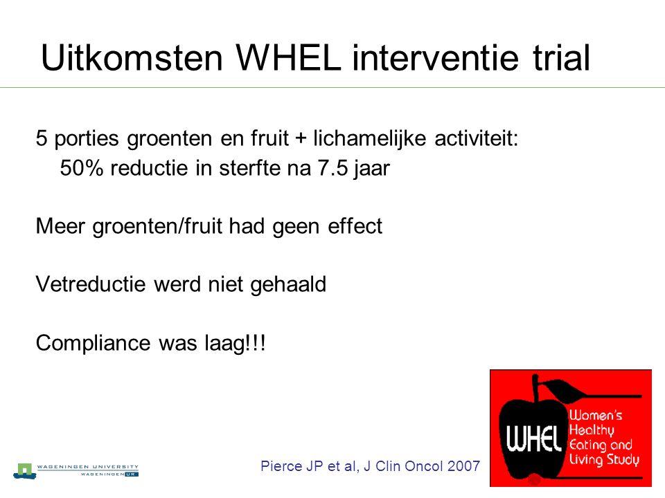 Uitkomsten WHEL interventie trial 5 porties groenten en fruit + lichamelijke activiteit: 50% reductie in sterfte na 7.5 jaar Meer groenten/fruit had g