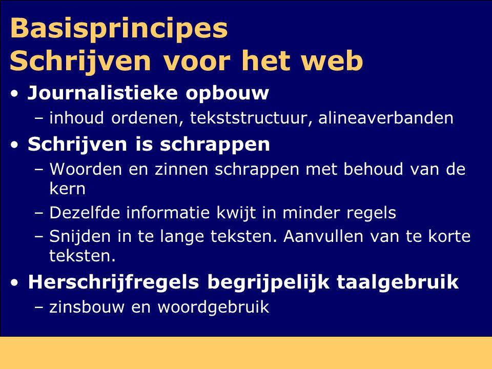 Basisprincipes Schrijven voor het web Journalistieke opbouw –inhoud ordenen, tekststructuur, alineaverbanden Schrijven is schrappen –Woorden en zinnen
