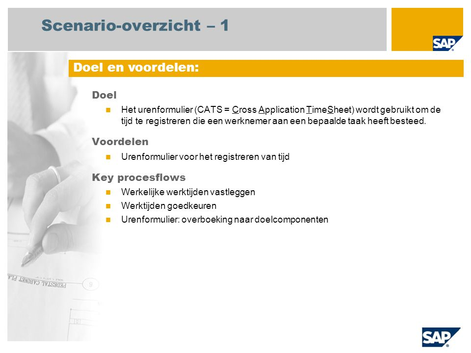 Scenario-overzicht – 2 Vereist SAP enhancement package 4 for SAP ERP 6.0 Bedrijfsrollen in procesflows Medewerker (professionele gebruiker) Reisadministrator Project manager Vereiste SAP-applicaties:
