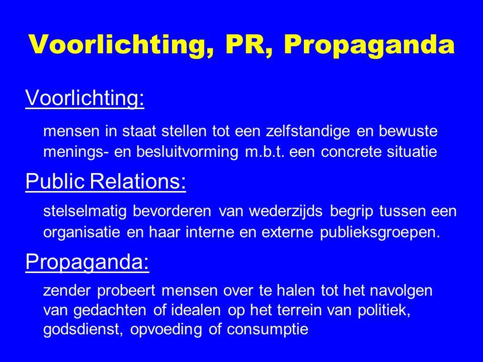 Voorlichting, PR, Propaganda Voorlichting: mensen in staat stellen tot een zelfstandige en bewuste menings- en besluitvorming m.b.t. een concrete situ