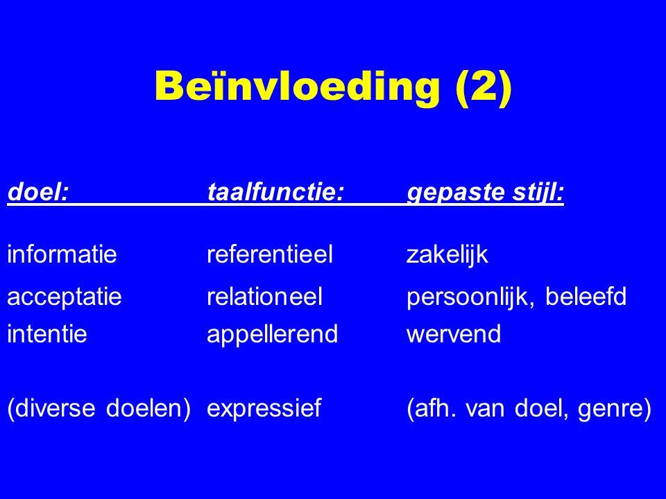 Beïnvloeding (2) doel:taalfunctie:gepaste stijl: informatiereferentieelzakelijk acceptatierelationeelpersoonlijk, beleefd intentieappellerendwervend (