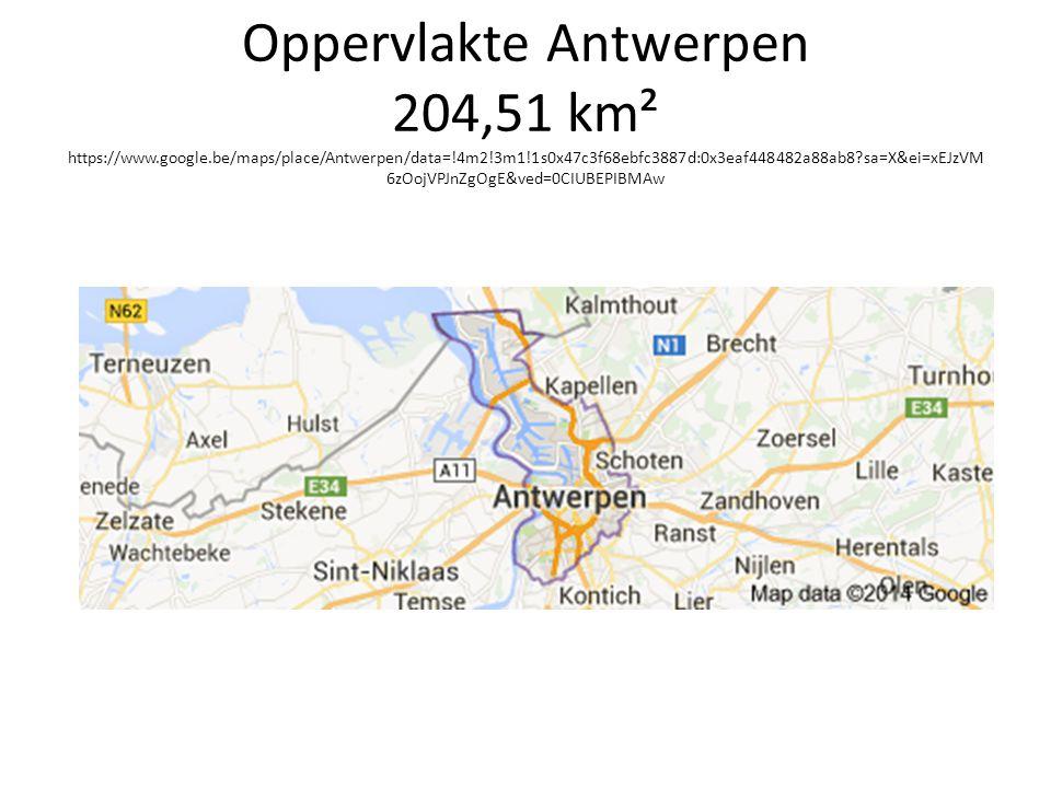 Oppervlakte Antwerpen 204,51 km² https://www.google.be/maps/place/Antwerpen/data=!4m2!3m1!1s0x47c3f68ebfc3887d:0x3eaf448482a88ab8?sa=X&ei=xEJzVM 6zOojVPJnZgOgE&ved=0CIUBEPIBMAw