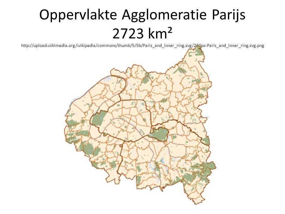 Oppervlakte Agglomeratie Parijs 2723 km² http://upload.wikimedia.org/wikipedia/commons/thumb/5/5b/Paris_and_inner_ring.svg/260px-Paris_and_inner_ring.svg.png