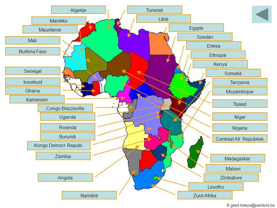 Tunesië Libië Egypte Soedan Eritrea Somalië Ethiopië Madagaskar Kenya Tanzania Mozambique Lesotho Zuid-Afrika Malawi Zimbabwe Namibië Angola Zambia Ko