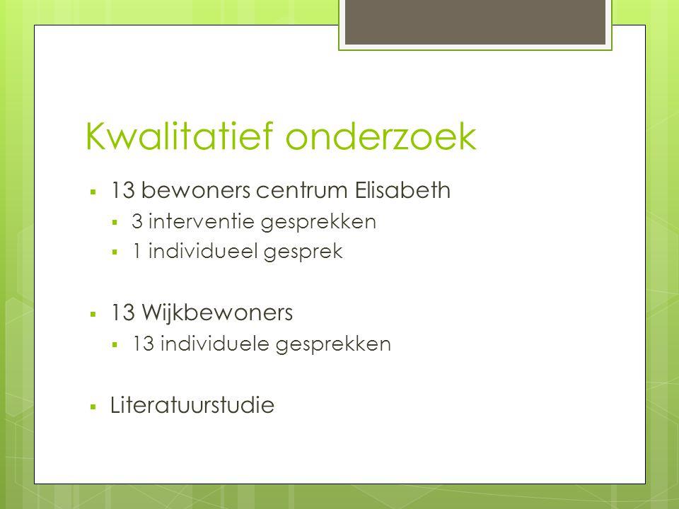 Kwalitatief onderzoek  13 bewoners centrum Elisabeth  3 interventie gesprekken  1 individueel gesprek  13 Wijkbewoners  13 individuele gesprekken