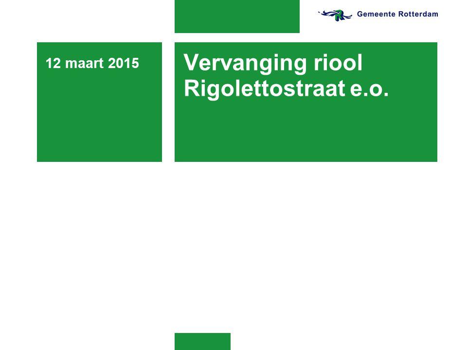 Vervanging riool Rigolettostraat e.o. 12 maart 2015