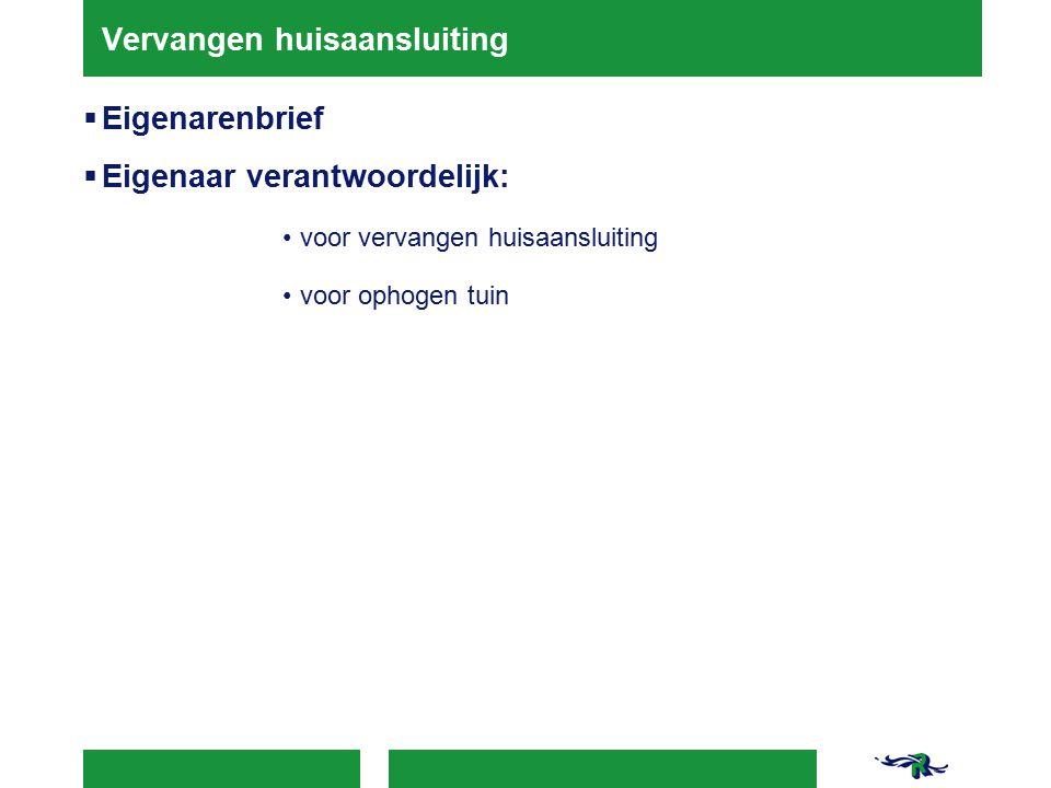 Vervangen huisaansluiting  Eigenarenbrief  Eigenaar verantwoordelijk: voor vervangen huisaansluiting voor ophogen tuin