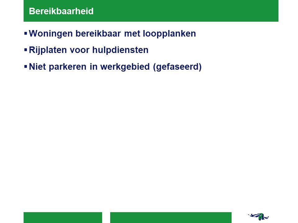 Bereikbaarheid  Woningen bereikbaar met loopplanken  Rijplaten voor hulpdiensten  Niet parkeren in werkgebied (gefaseerd)
