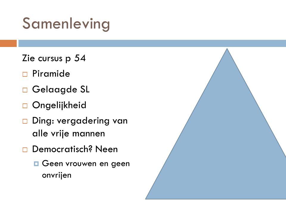 Samenleving Zie cursus p 54  Piramide  Gelaagde SL  Ongelijkheid  Ding: vergadering van alle vrije mannen  Democratisch.