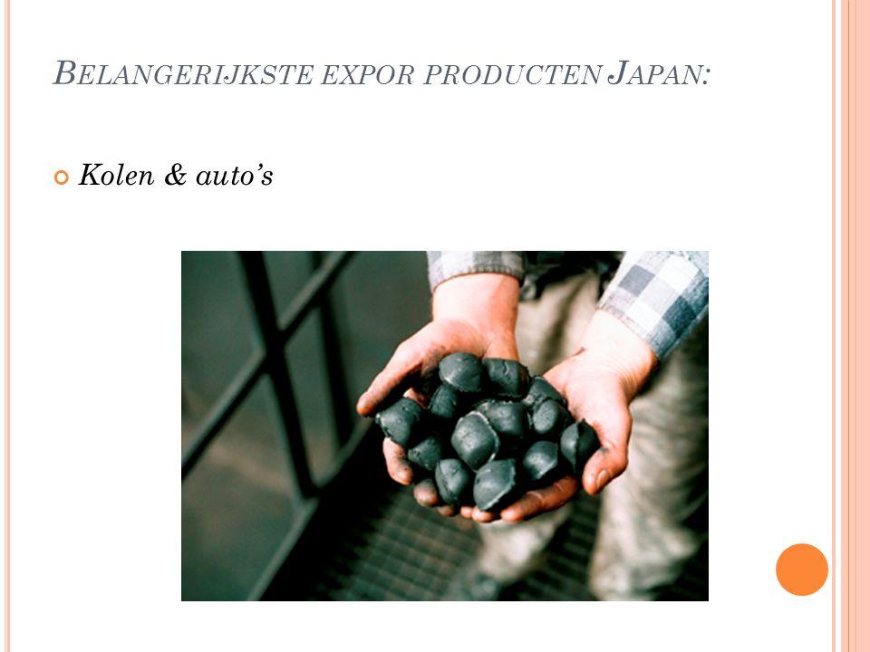 B ELANGERIJKSTE EXPOR PRODUCTEN J APAN : Kolen & auto's