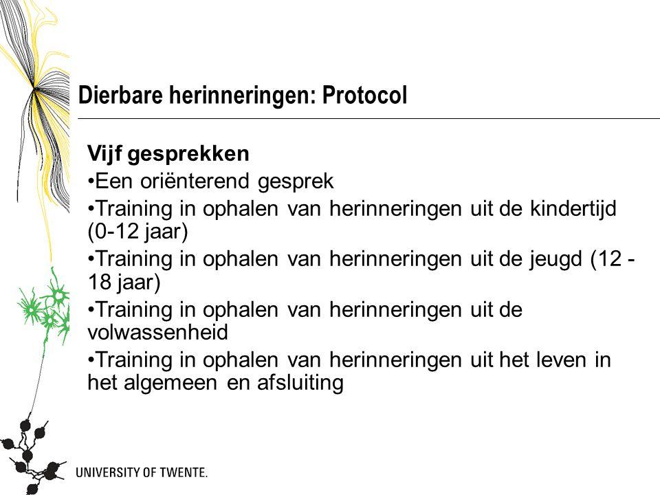 Dierbare herinneringen: Protocol Vijf gesprekken Een oriënterend gesprek Training in ophalen van herinneringen uit de kindertijd (0-12 jaar) Training
