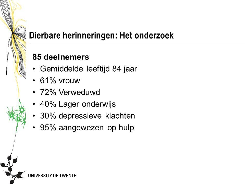 Dierbare herinneringen: Het onderzoek 85 deelnemers Gemiddelde leeftijd 84 jaar 61% vrouw 72% Verweduwd 40% Lager onderwijs 30% depressieve klachten 9