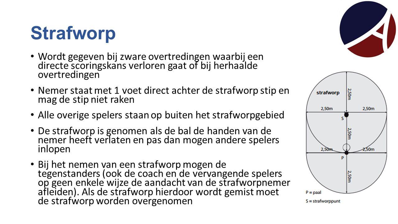 Strafworp Wordt gegeven bij zware overtredingen waarbij een directe scoringskans verloren gaat of bij herhaalde overtredingen Nemer staat met 1 voet d