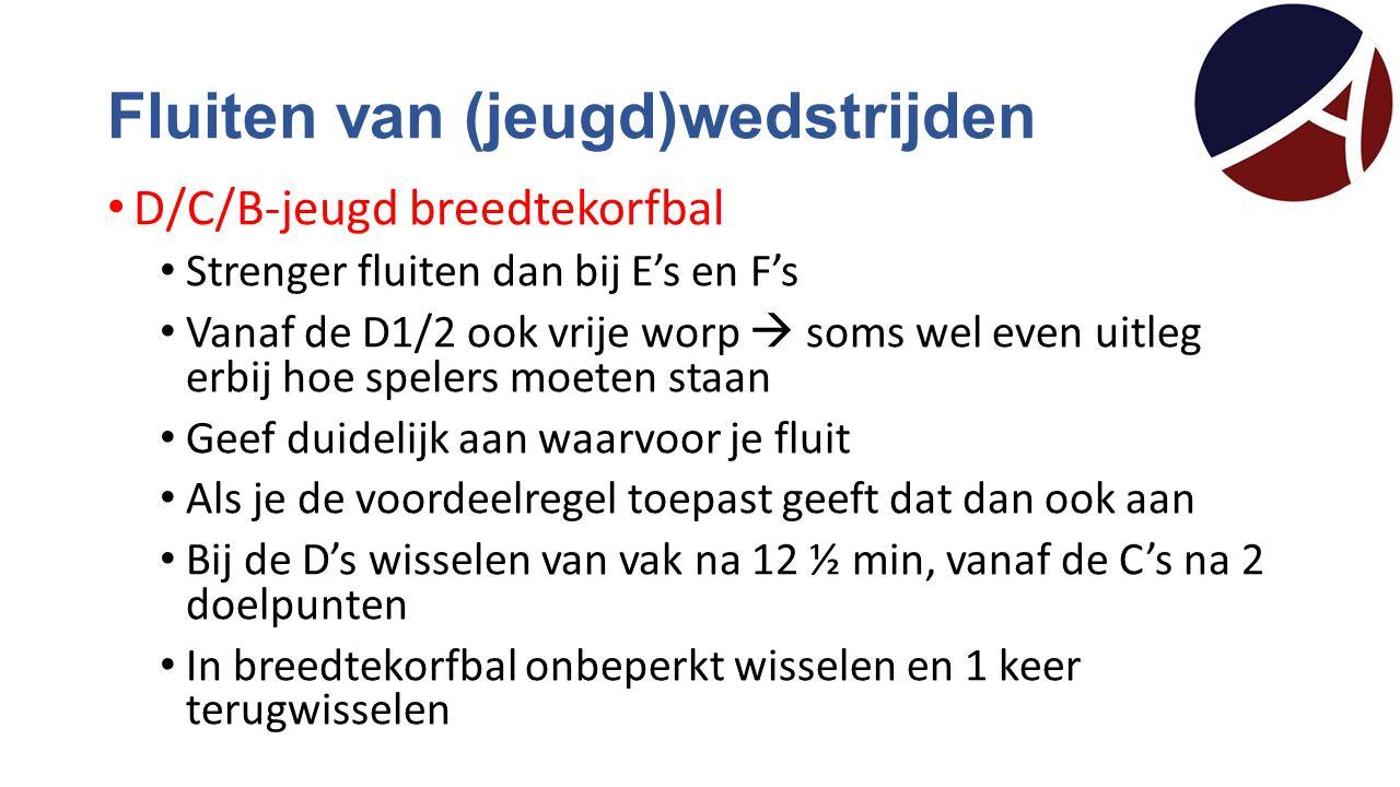 Fluiten van (jeugd)wedstrijden D/C/B-jeugd breedtekorfbal Strenger fluiten dan bij E's en F's Vanaf de D1/2 ook vrije worp  soms wel even uitleg erbi