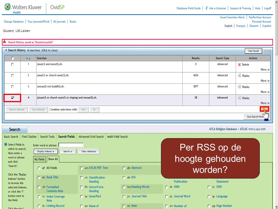 Per RSS op de hoogte gehouden worden? Student, UB-Leiden