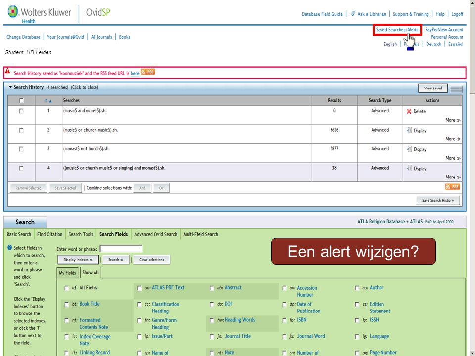 Een alert wijzigen Student, UB-Leiden