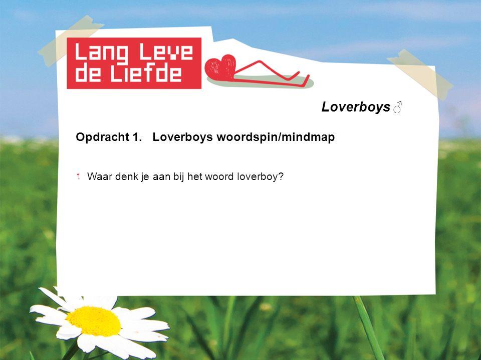 Loverboys ♂ Opdracht 1. Loverboys woordspin/mindmap Waar denk je aan bij het woord loverboy?