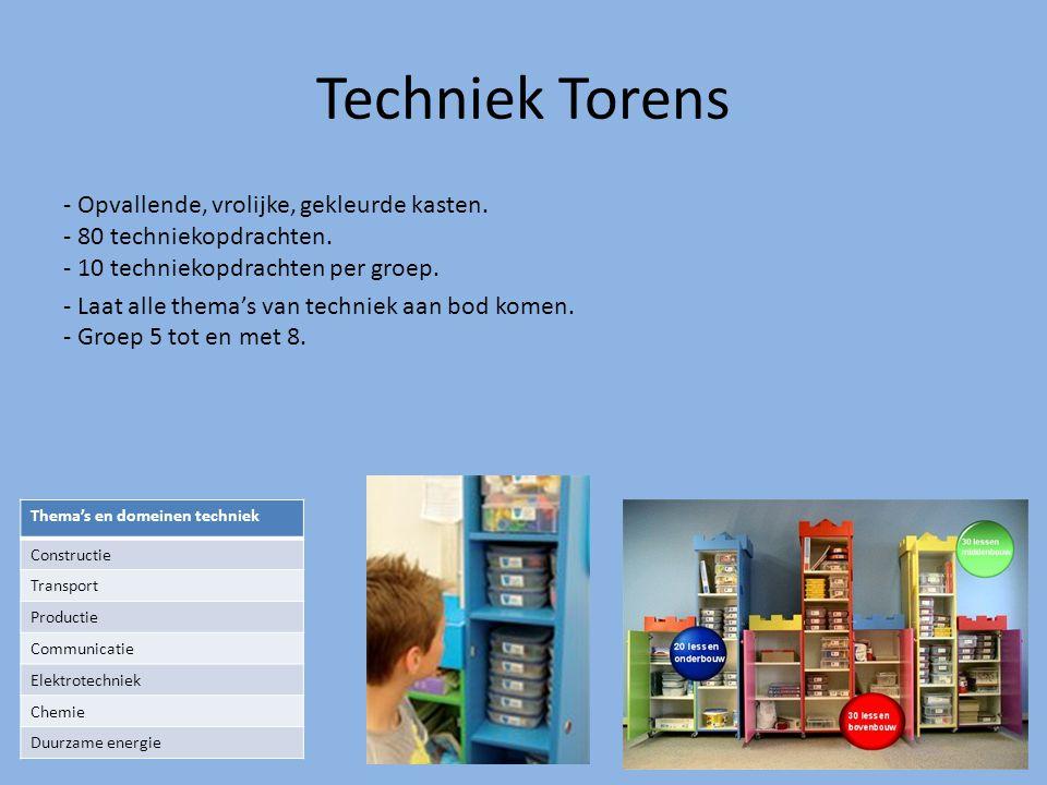 Techniek Torens - Opvallende, vrolijke, gekleurde kasten. - 80 techniekopdrachten. - 10 techniekopdrachten per groep. - Laat alle thema's van techniek