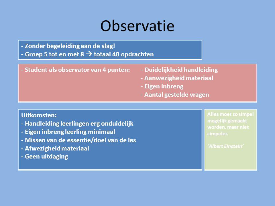 Observatie - Zonder begeleiding aan de slag! - Groep 5 tot en met 8  totaal 40 opdrachten - Student als observator van 4 punten: - Duidelijkheid hand