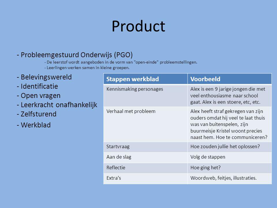 Product - Probleemgestuurd Onderwijs (PGO) - De leerstof wordt aangeboden in de vorm van open-einde probleemstellingen.