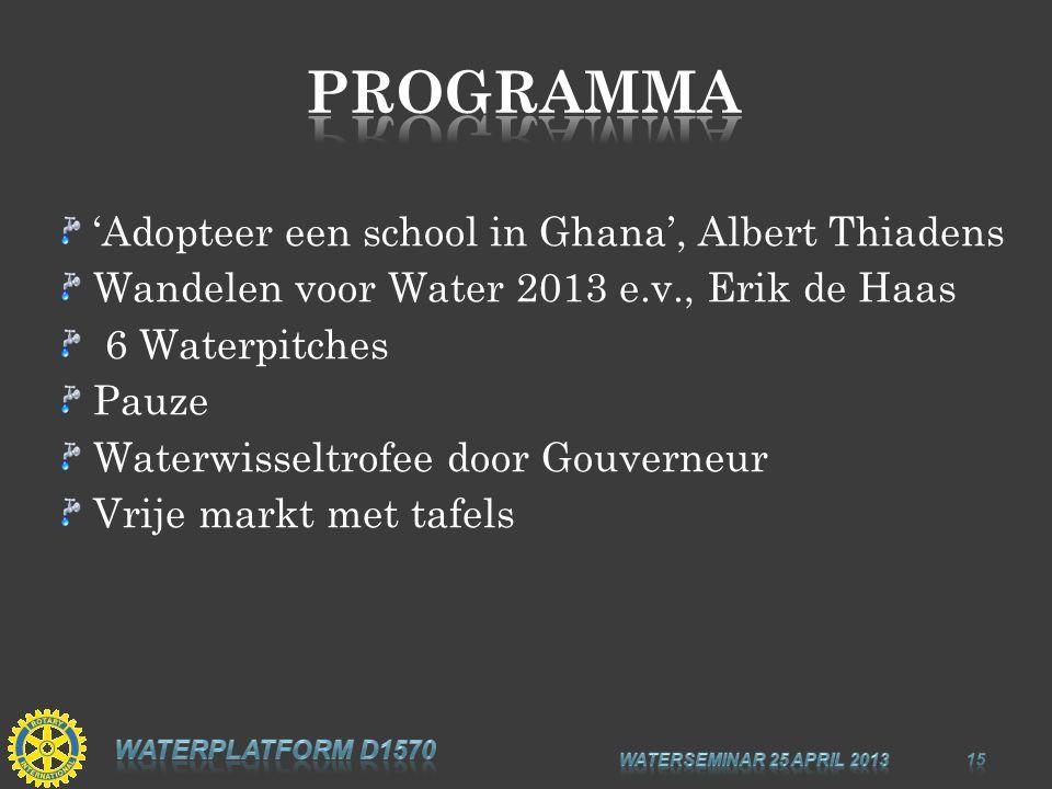 'Adopteer een school in Ghana', Albert Thiadens Wandelen voor Water 2013 e.v., Erik de Haas 6 Waterpitches Pauze Waterwisseltrofee door Gouverneur Vrije markt met tafels