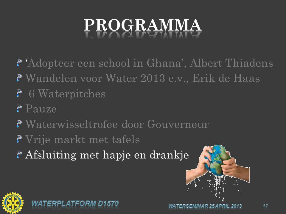 'Adopteer een school in Ghana', Albert Thiadens Wandelen voor Water 2013 e.v., Erik de Haas 6 Waterpitches Pauze Waterwisseltrofee door Gouverneur Vri