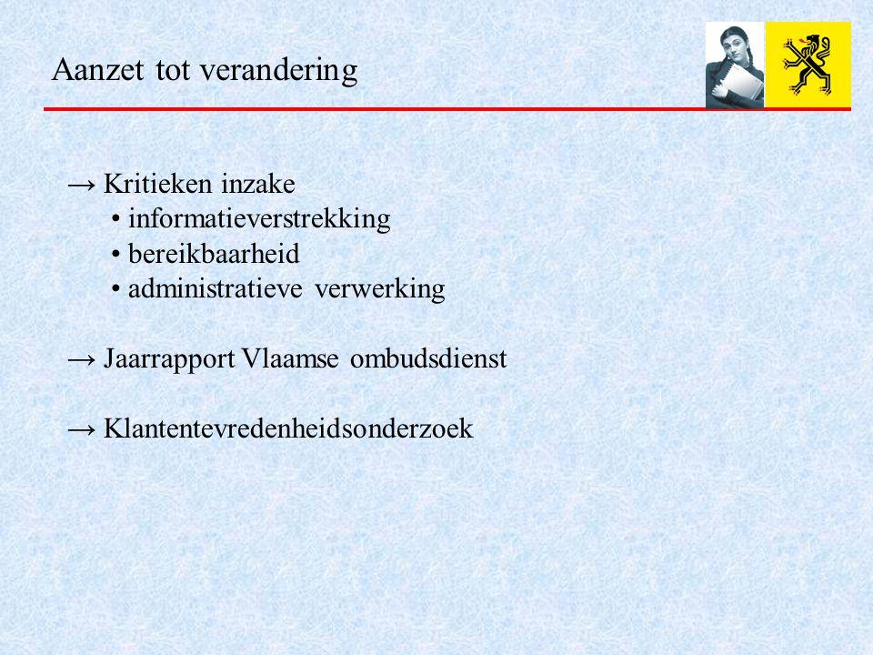 Aanzet tot verandering → Kritieken inzake informatieverstrekking bereikbaarheid administratieve verwerking → Jaarrapport Vlaamse ombudsdienst → Klantentevredenheidsonderzoek
