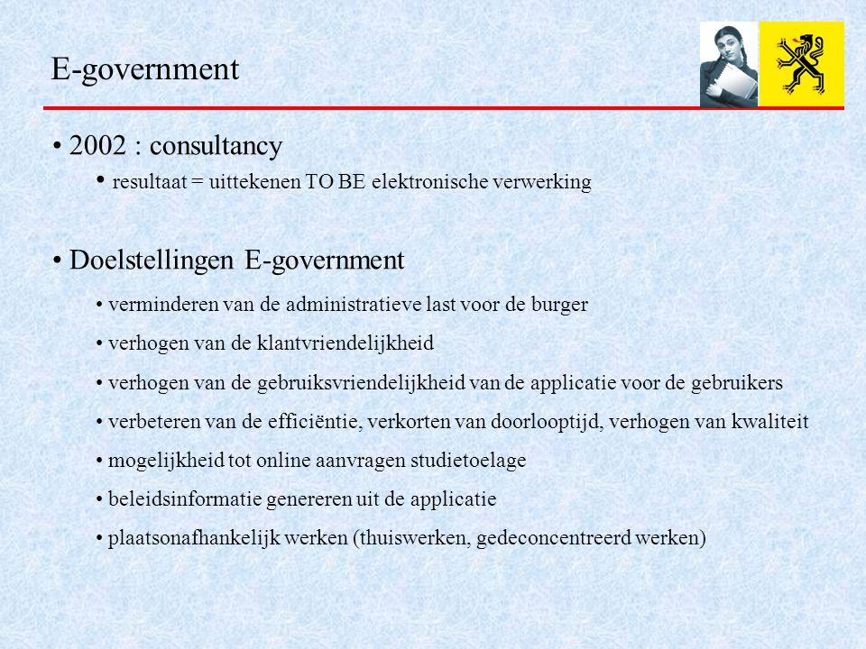E-government 2002 : consultancy resultaat = uittekenen TO BE elektronische verwerking Doelstellingen E-government verminderen van de administratieve last voor de burger verhogen van de klantvriendelijkheid verhogen van de gebruiksvriendelijkheid van de applicatie voor de gebruikers verbeteren van de efficiëntie, verkorten van doorlooptijd, verhogen van kwaliteit mogelijkheid tot online aanvragen studietoelage beleidsinformatie genereren uit de applicatie plaatsonafhankelijk werken (thuiswerken, gedeconcentreerd werken)