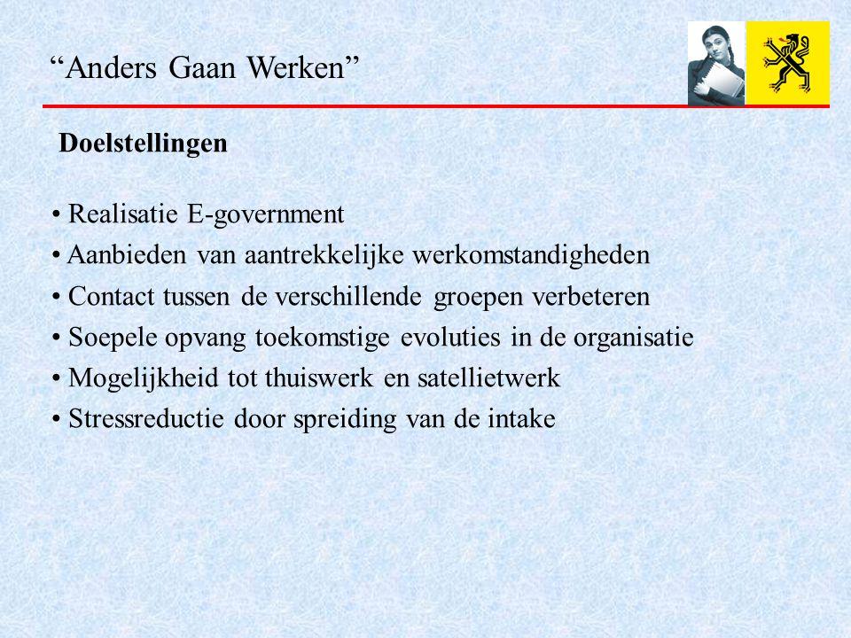 """""""Anders Gaan Werken"""" Doelstellingen Realisatie E-government Aanbieden van aantrekkelijke werkomstandigheden Contact tussen de verschillende groepen ve"""