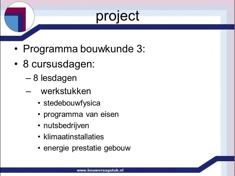 project Programma bouwkunde 3: 8 cursusdagen: –8 lesdagen – werkstukken stedebouwfysica programma van eisen nutsbedrijven klimaatinstallaties energie prestatie gebouw