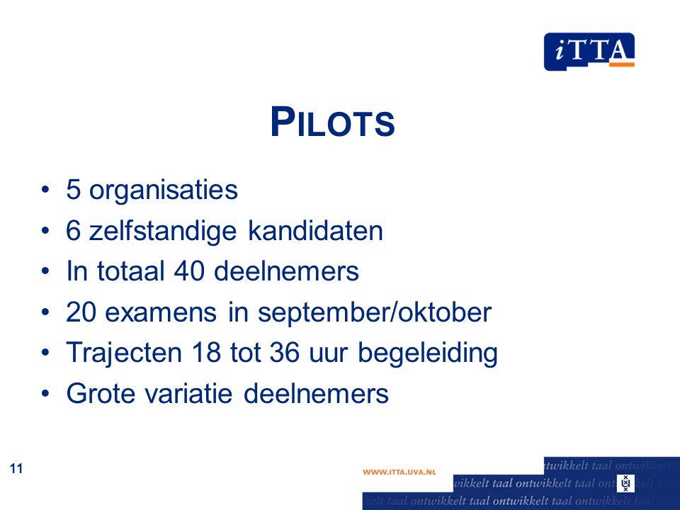 P ILOTS 5 organisaties 6 zelfstandige kandidaten In totaal 40 deelnemers 20 examens in september/oktober Trajecten 18 tot 36 uur begeleiding Grote var