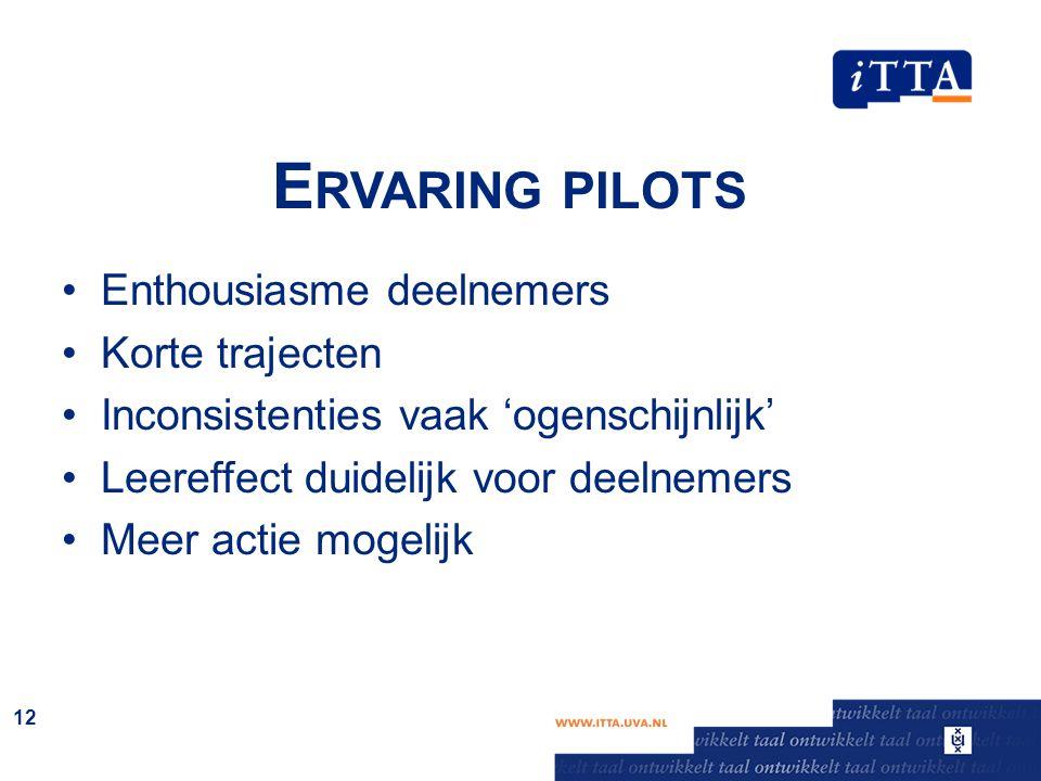 E RVARING PILOTS Enthousiasme deelnemers Korte trajecten Inconsistenties vaak 'ogenschijnlijk' Leereffect duidelijk voor deelnemers Meer actie mogelij