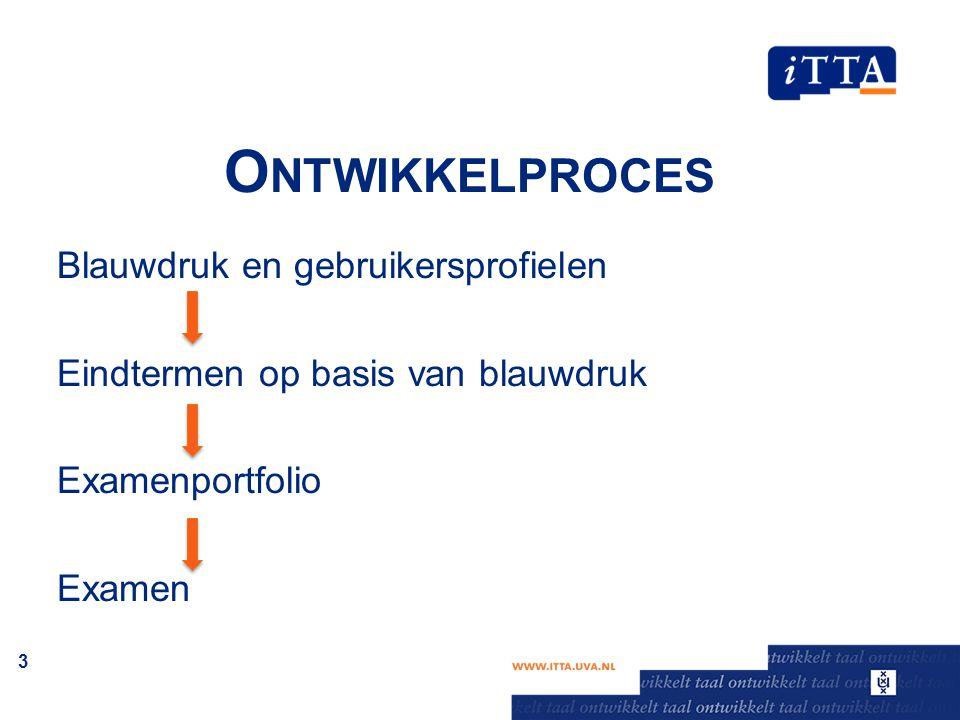 O NTWIKKELPROCES Blauwdruk en gebruikersprofielen Eindtermen op basis van blauwdruk Examenportfolio Examen 3