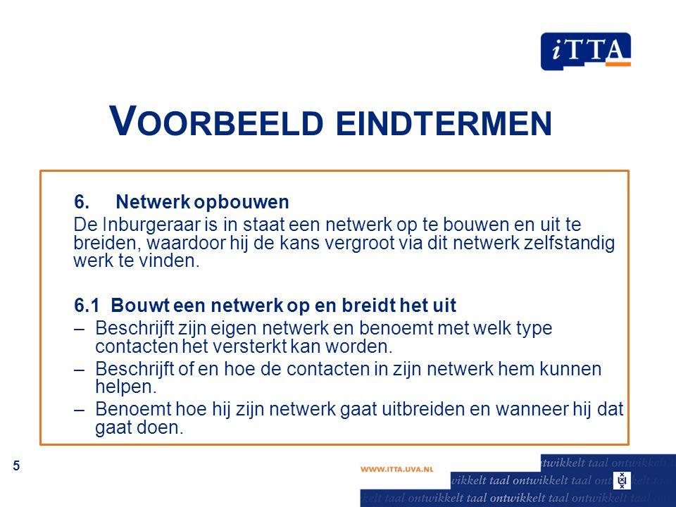 V OORBEELD EINDTERMEN 6. Netwerk opbouwen De Inburgeraar is in staat een netwerk op te bouwen en uit te breiden, waardoor hij de kans vergroot via dit