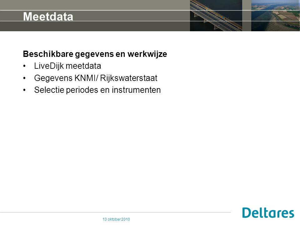 13 oktober 2010 Meetdata Beschikbare gegevens en werkwijze LiveDijk meetdata Gegevens KNMI/ Rijkswaterstaat Selectie periodes en instrumenten